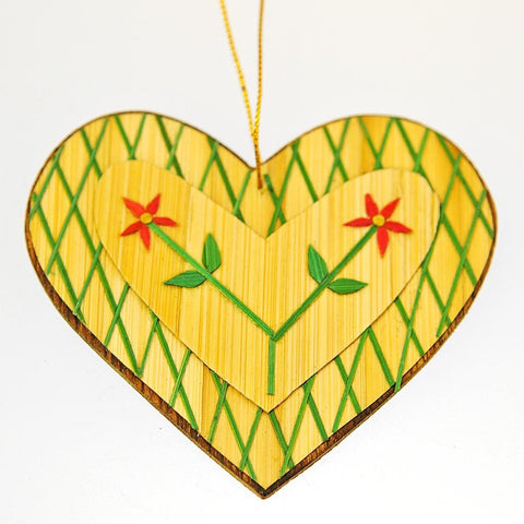 Fair Trade Tree Decoration - Flowers On Heart