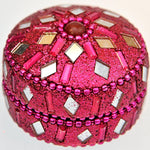Fair Trade Glittery Box - Small, Round, Light Pink