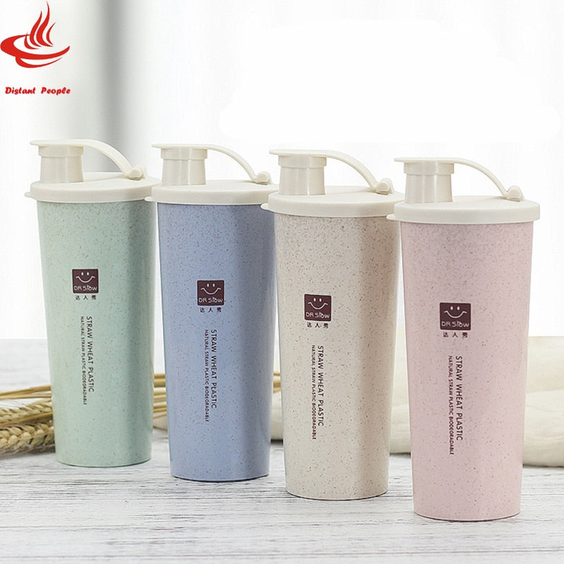 450ml Protein Powder Shaker Water Bottle Wheat Straw BPA Free Mixer Sports Fitness Protein Shaker Milk Shake Bottle