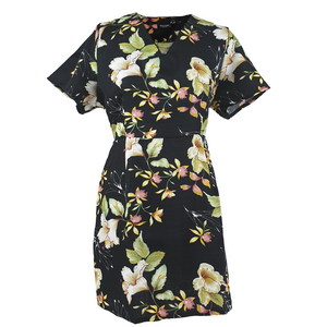 V-line Dress Flower Printed - Black