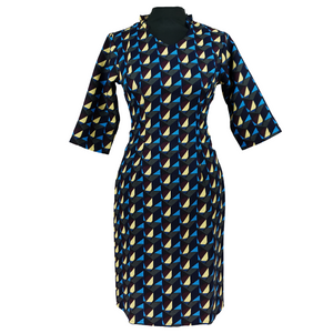 A-line Dress with Yellow/Blue Pattern