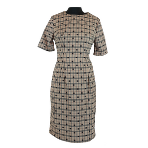 Cube Printed Pencil Dress - Brown