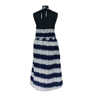 Halterneck Dress - Blue/Grey