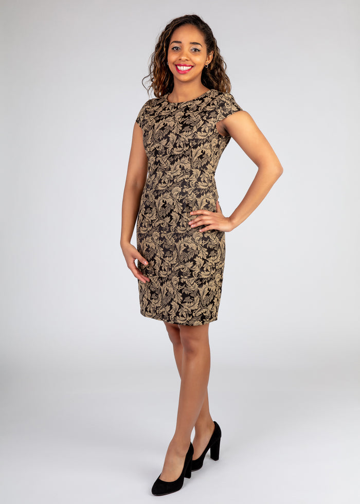 Drop Shoulder Dress with Leafy Pattern