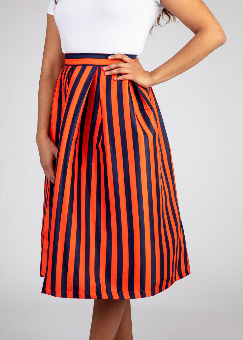 Banded Pleated Skirt - Orange and Dark Blue Stripes