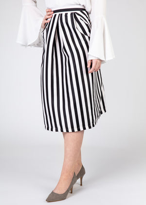 Banded Pleated Skirt - Black and White Stripes
