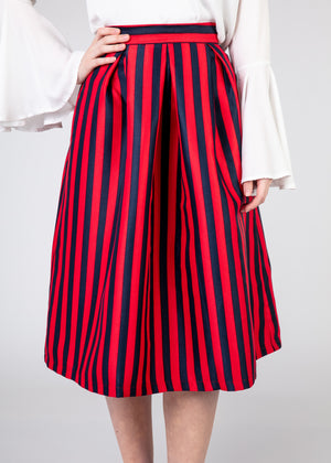 Banded Pleated Skirt - Red and Dark Blue Stripes