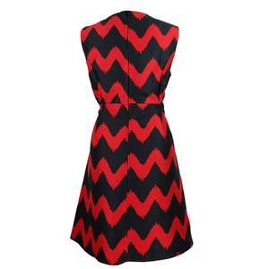 Sleeveless Patterned Zig Zag Dress