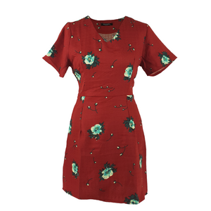 V-line Dress Flower Printed - Red