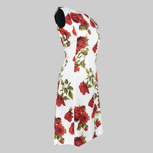 Sleeveless Rose Printed Dress