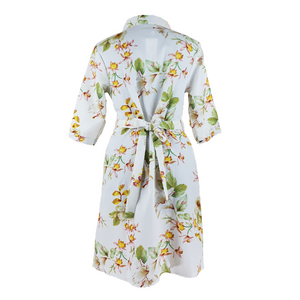 3/4 Sleeve Button Dress with Floral Print