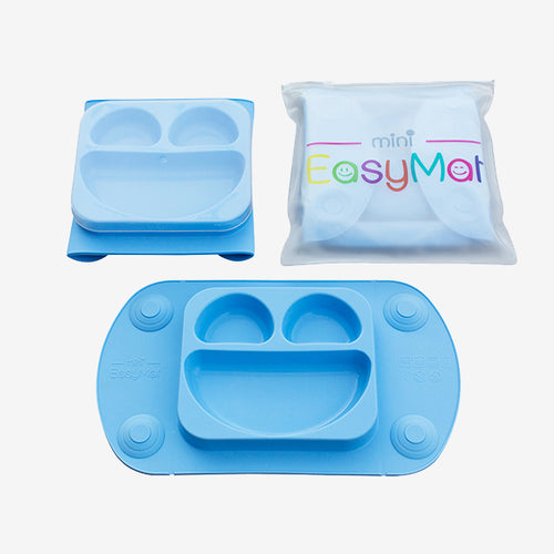 EasyMat Mini Baby Suction Plate with Lid, Folding Sides and Carry Case Blue