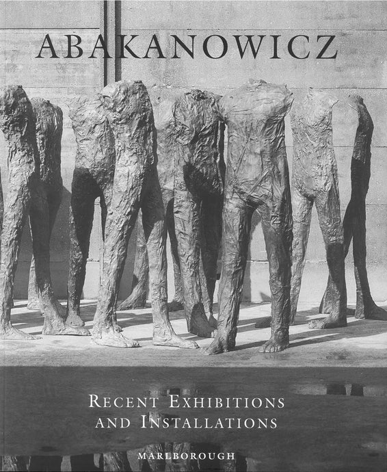 Abakanowicz catalogue featuring several bronze standing figures in black and white