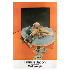 1980 Francis Bacon poster featuring an orange background and a humanoid figure lying down on a table