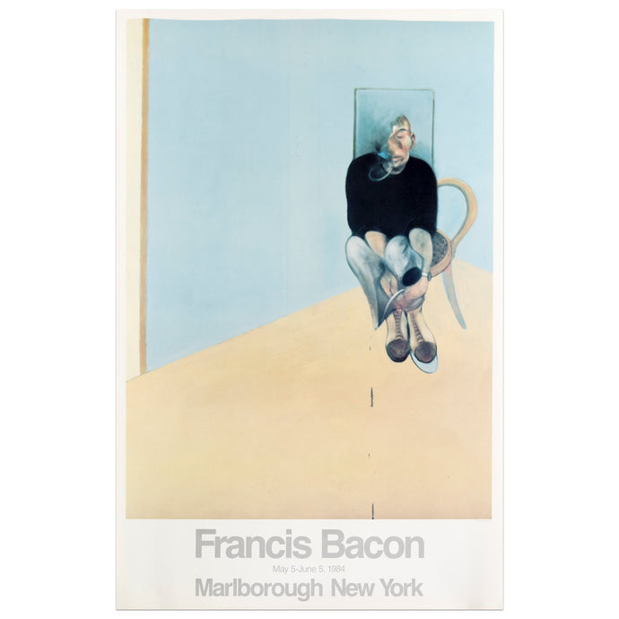 1984 Marlborough New York poster for Francis Bacon featuring a man sitting in a chair against a blue background