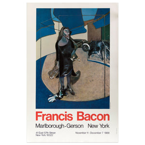 1968 Marlborough New York poster for Francis Bacon featuring a woman in a black dress standing in a blue abstracted outdoor scene