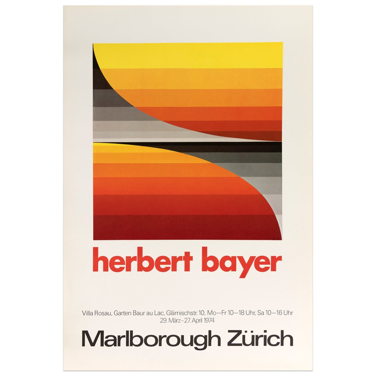1974 Marlborough Zürich Herbert Bayer poster featuring a red to yellow and black to gray gradient