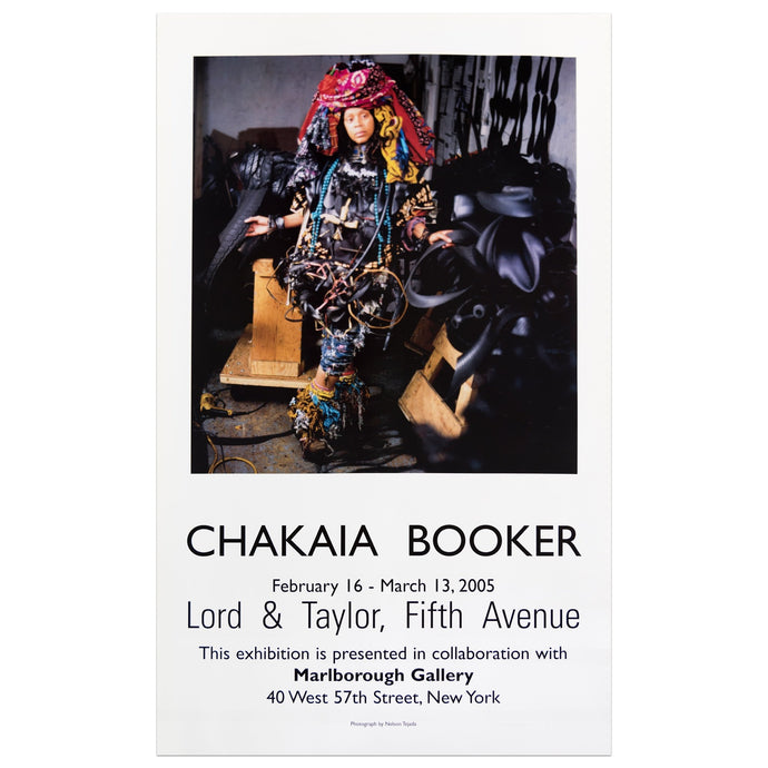 2005 Marlborough Gallery poster for Chakaia Booker featuring a portrait of the artist in her studio
