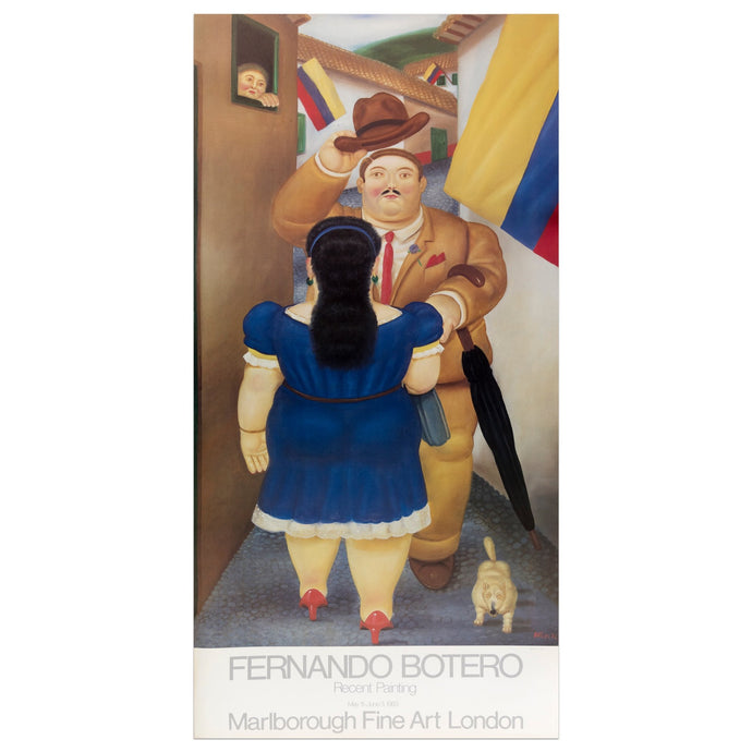 Marlborough Fine Art London poster for Fernando featuring a man and woman in an alleyway, a few Colombian flags, a dog, and a woman looking at them from a window