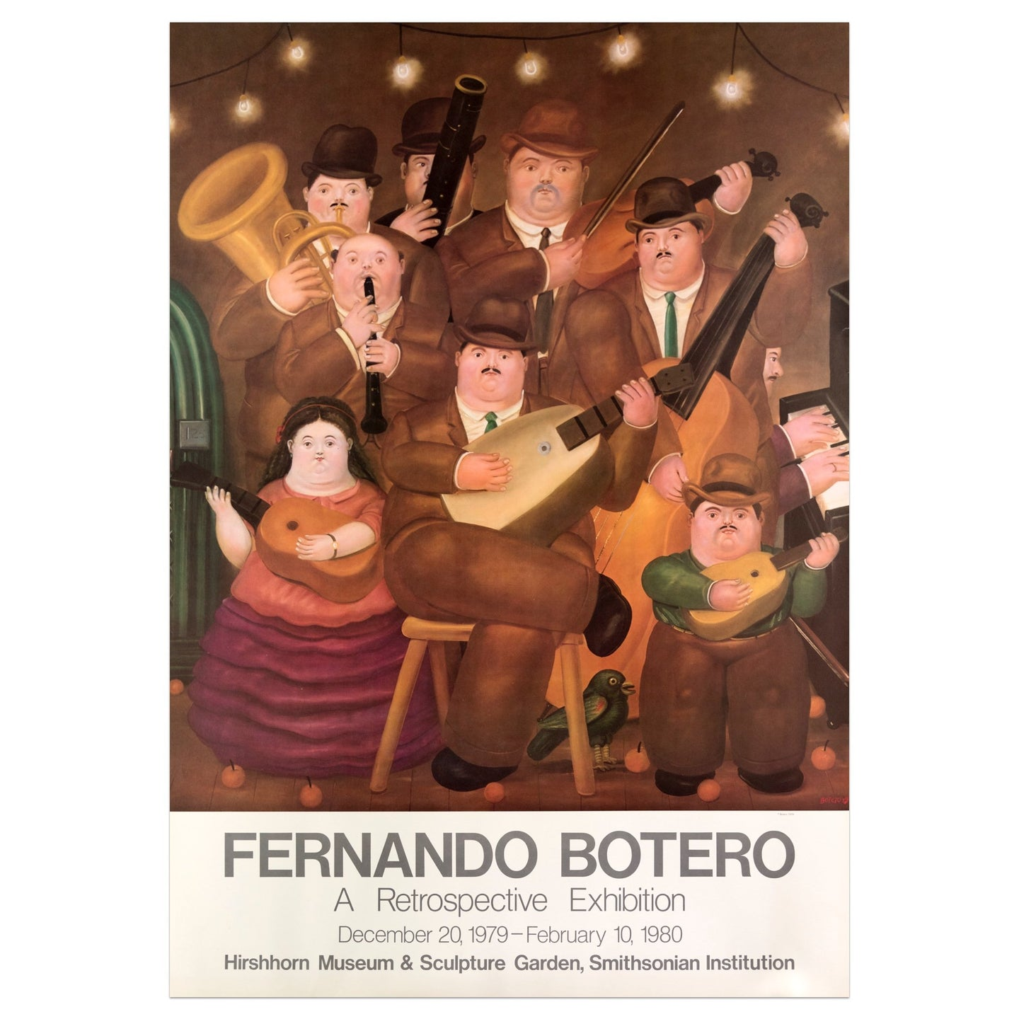 Smithsonian Institution poster for Fernando Botero of a 1980 retrospective exhibition featuring a band of 8 members holding their instruments