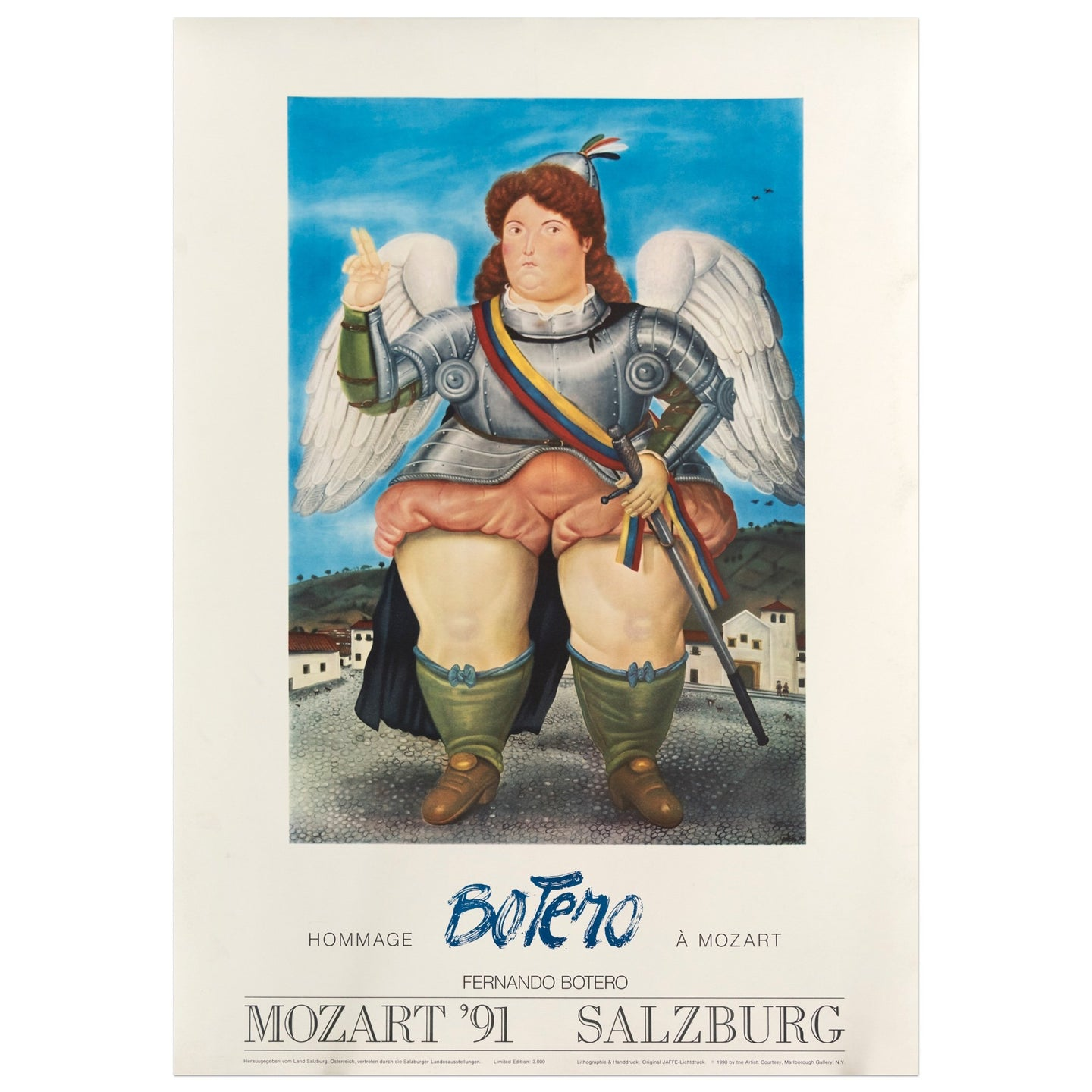 1991 Fernando Botero poster for a hommage to Mozart; featuring a Colombian woman dressed in armor, wings, and holding a sword outdoors