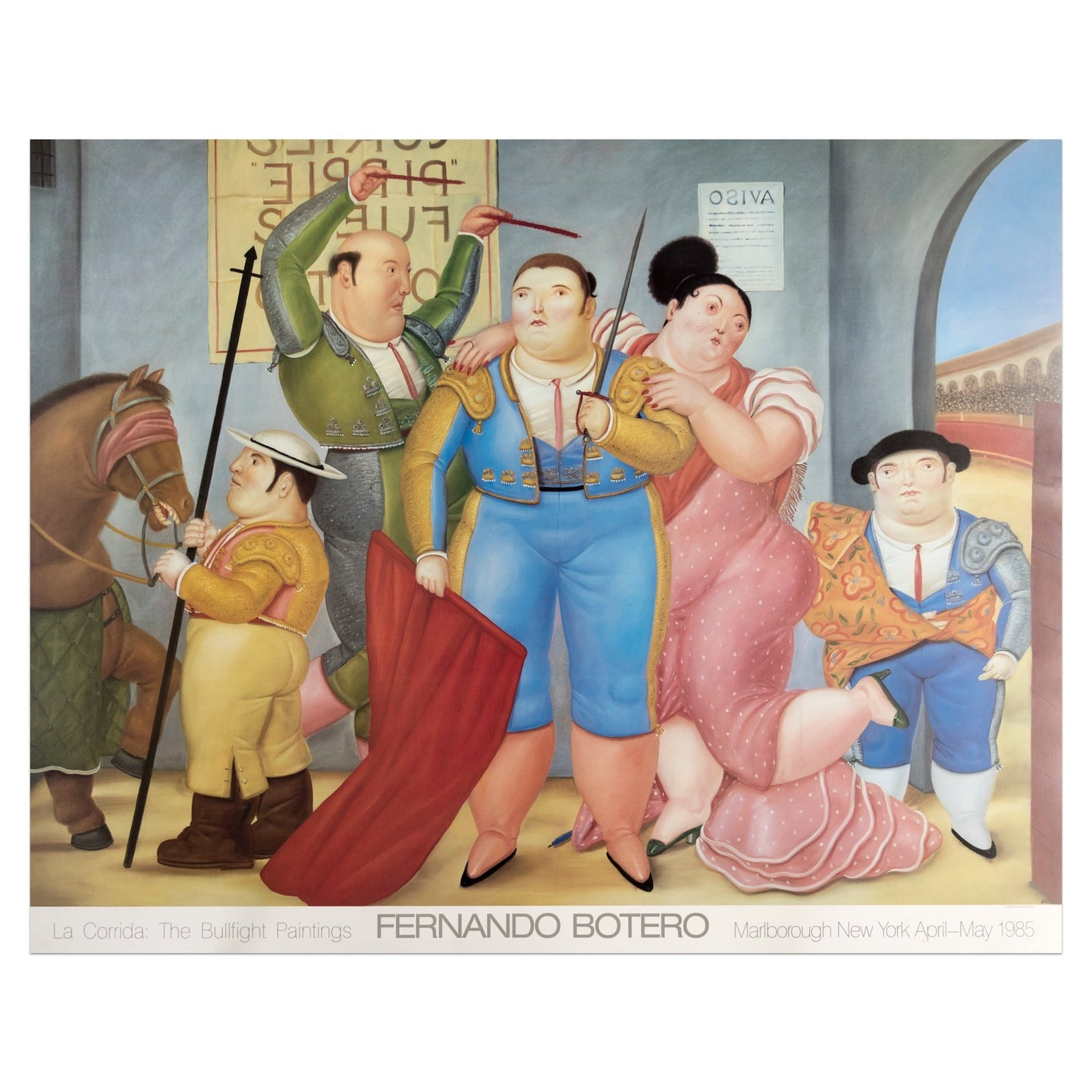 1985 Marlborough New York poster for Fernando Botero's bullfight paintings; featuring five figures and a horse