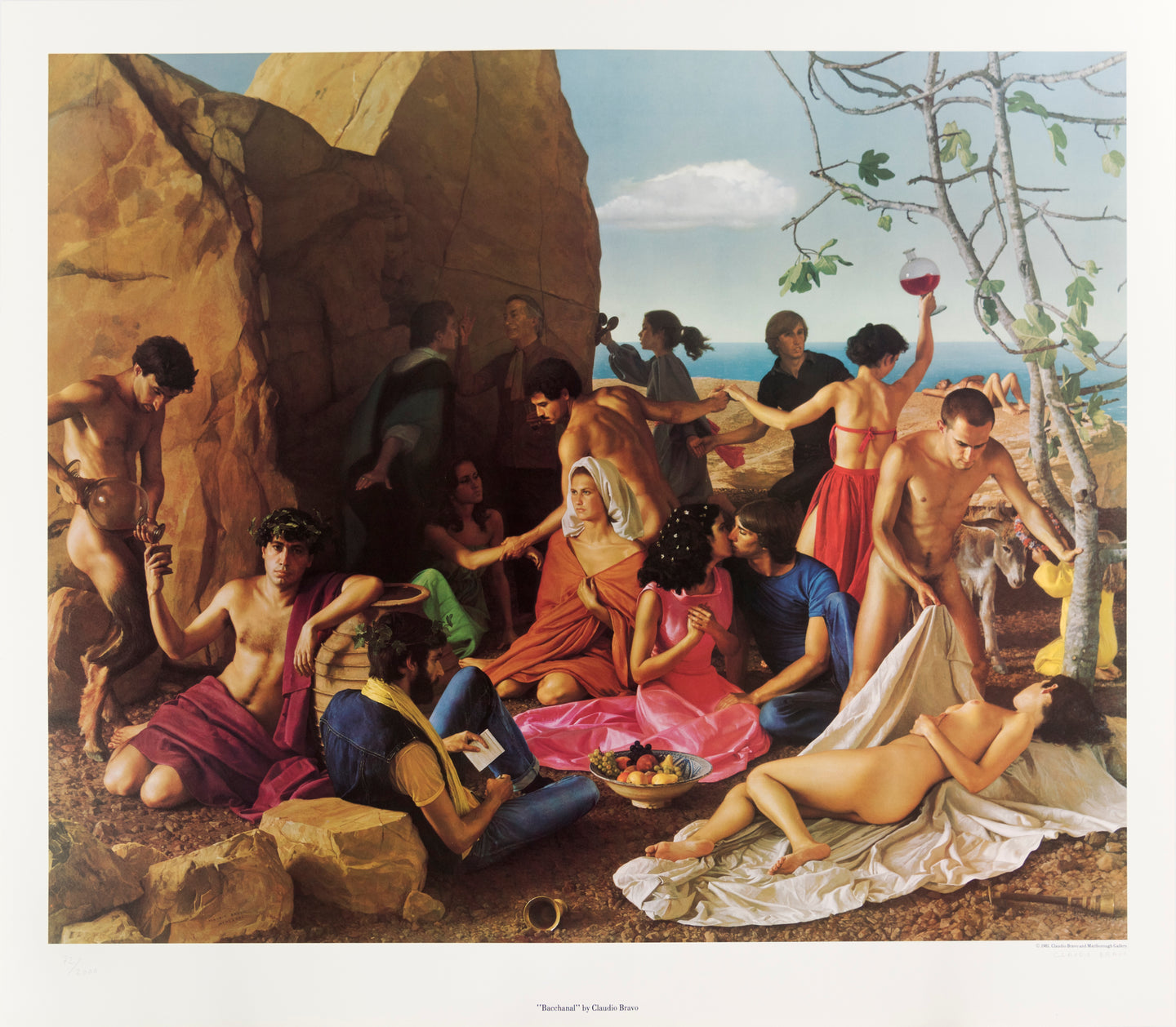 Bacchanal party scene poster by Claudio Bravo