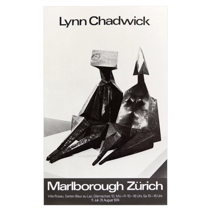 1974 Marlborough Zürich poster for Lynn Chadwick featuring two geometric sculptures in the form of seated figures