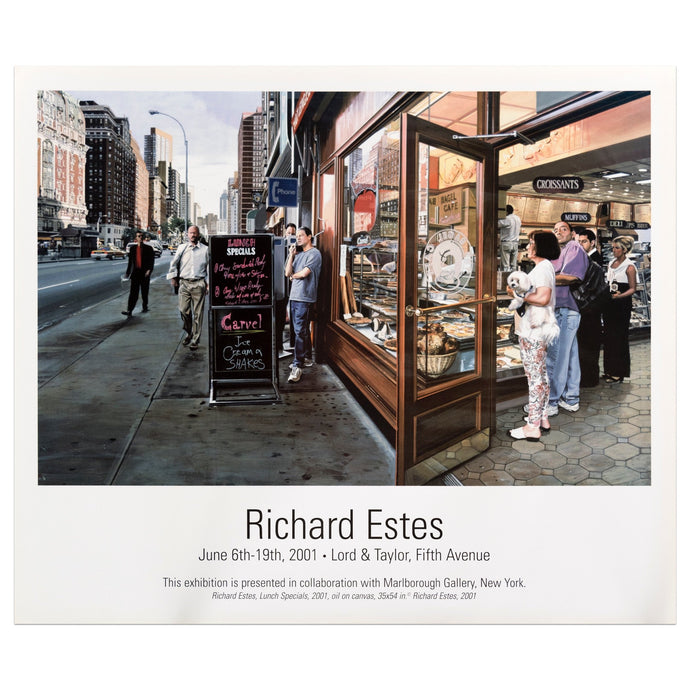 2001 Marlborough Gallery poster for Richard Estes featuring a photorealistic painting of an urban cafe lunch scene