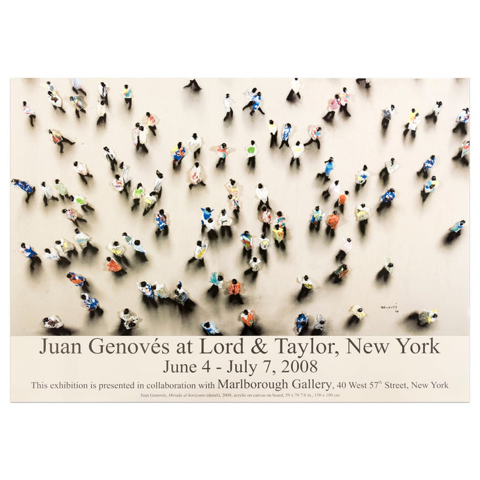 2008 Marlborough New York poster for Juan Genovés featuring a bird's-eye view of a crowd