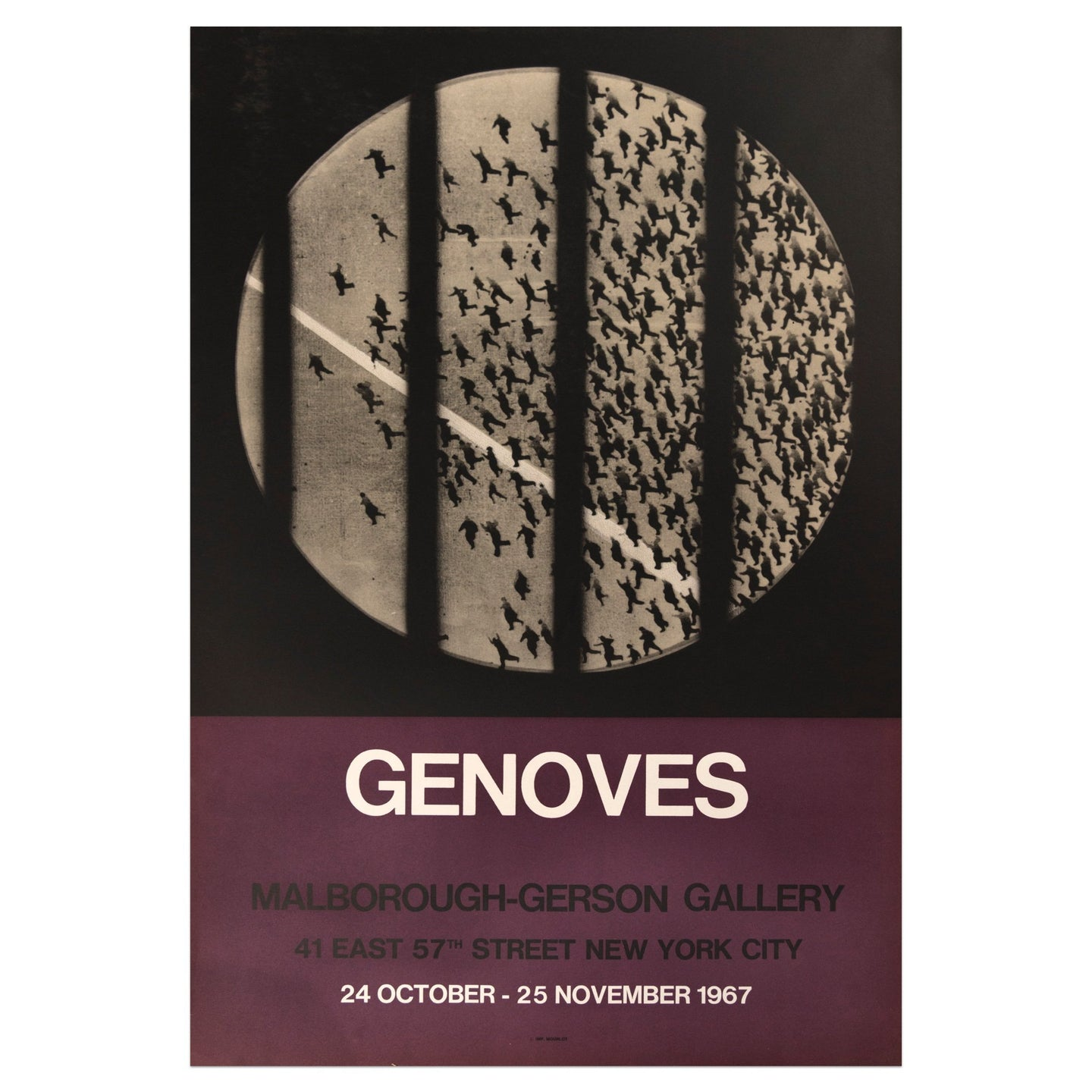 1967 Juan Genoves poster featuring a black and white bird's-eye view of a crowd running in a circular frame, divided by black bars