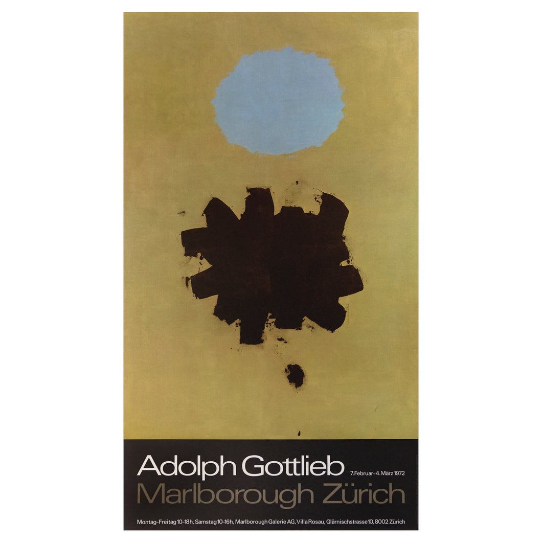 1972 Adolph Gottlieb Marlborough Zürich poster of a painting featuring a gold background and a black and light clusters of paint