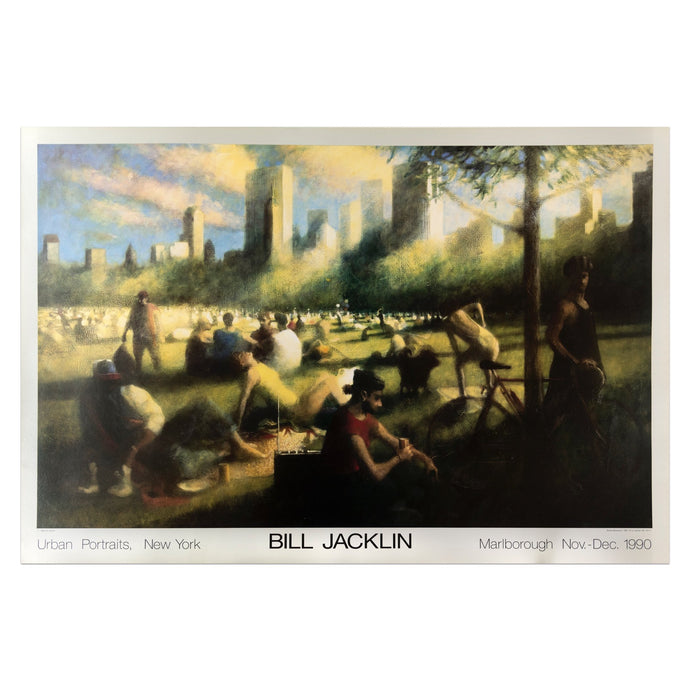 1990 Marlborough poster featuring an urban park scene with people  in New York by Bill Jacklin