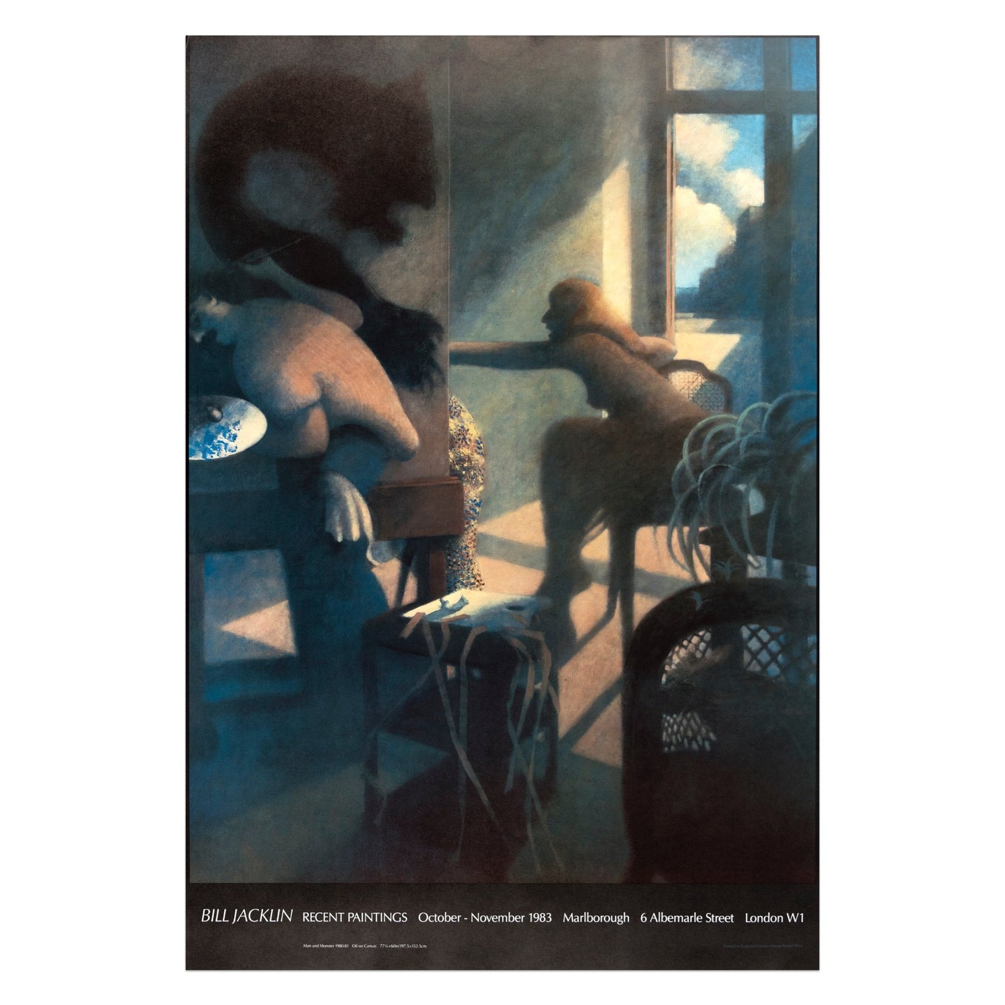 Bill Jacklin recent paintings poster from 1983 featuring a man and a monster along with a woman sitting beside a window