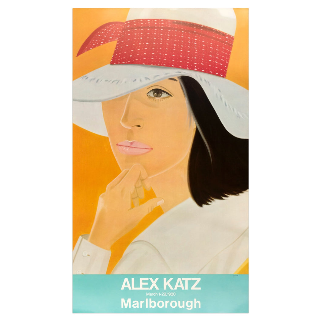 1980 Alex Katz Marlborough poster featuring a woman with a white hat on and an orange background