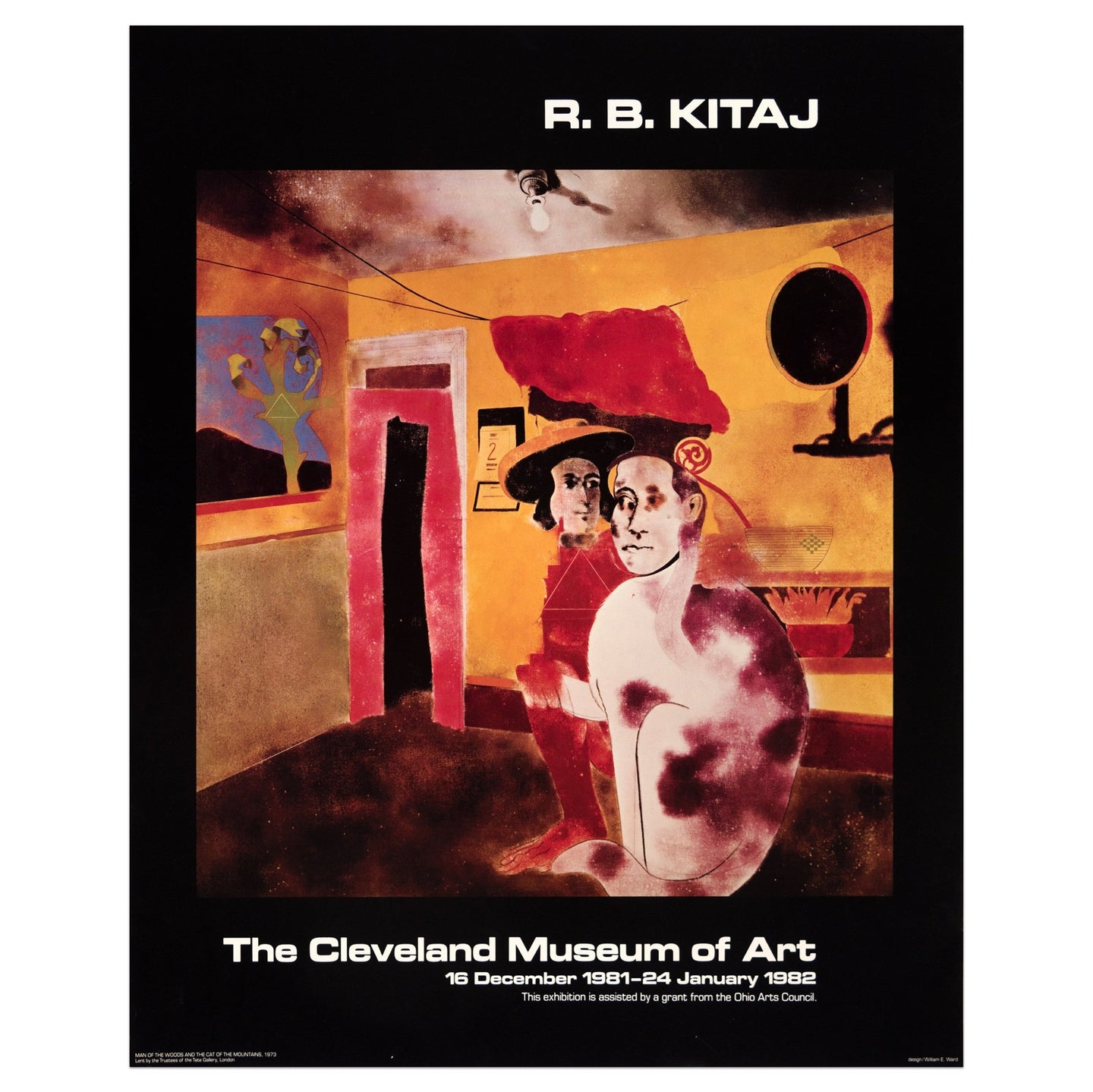 1982 The Cleveland Museum of Art poster for R.B. Kitaj featuring two human/animal figures in a predominantly yellow and orange room at night