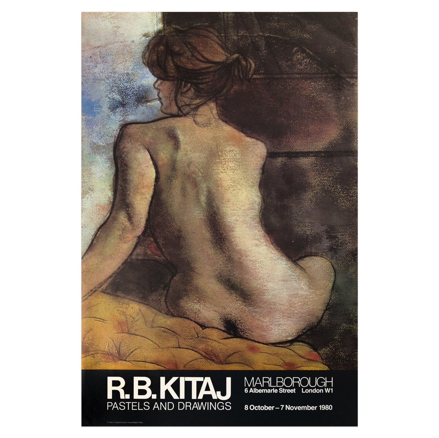 1980 Marlborough London poster for R.B. Kitaj featuring a pastel drawing of the back of a nude woman