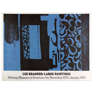 1974 poster for Lee Krasner large paintings for the Whitney Museum featuring an abstract painting made with blue and black