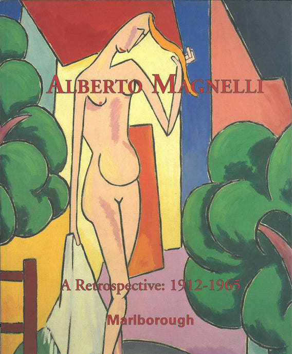 Magnelli catalogue cover featuring a female figure on an abstracted colorful background