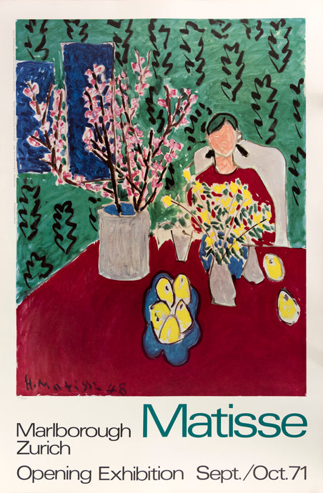Marlborough Zurich poster for Matisse featuring a painting of a woman sitting at a table with plants and lemons on it