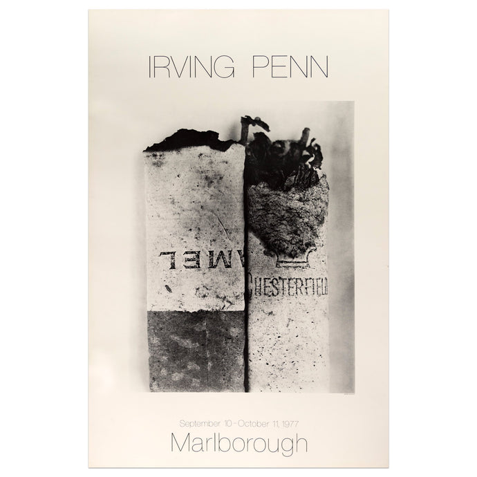 1977 Marlborough poster for Irving Penn featuring a black and white photographic of cigarette butts