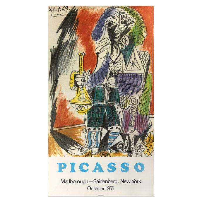 1971 Marlborough New York poster for Picasso featuring a colorful pastel drawing of a seated figure holding an instrument