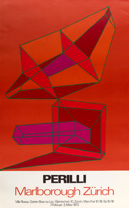 1973 Marlborough Zürich Perilli poster featuring red geometric red, orange, and pink forms