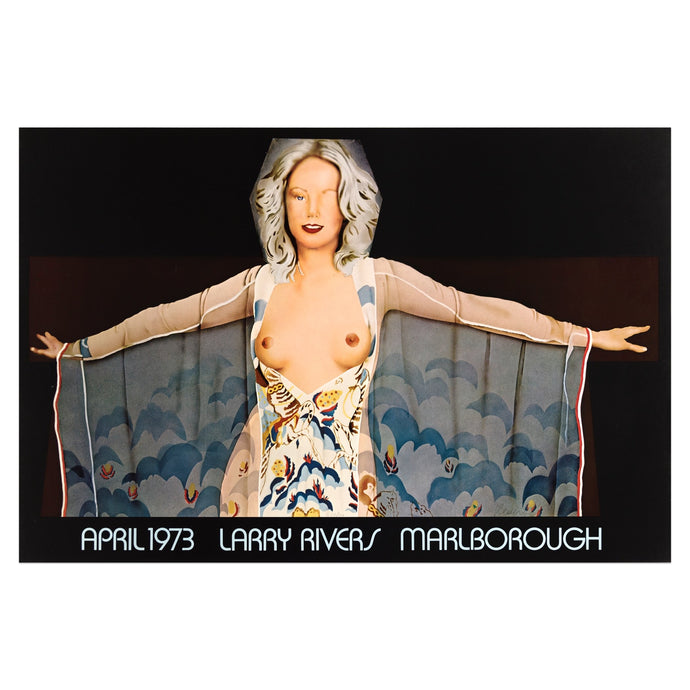 1973 Marlborough poster for Larry Rivers featuring a woman dressed in a hooded sheer robe and her breasts exposed