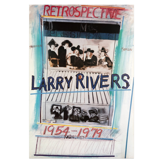 Poster for Larry Rivers retrospective, 1974-1979 featuring two renderings of five seated Dutch Masters figures