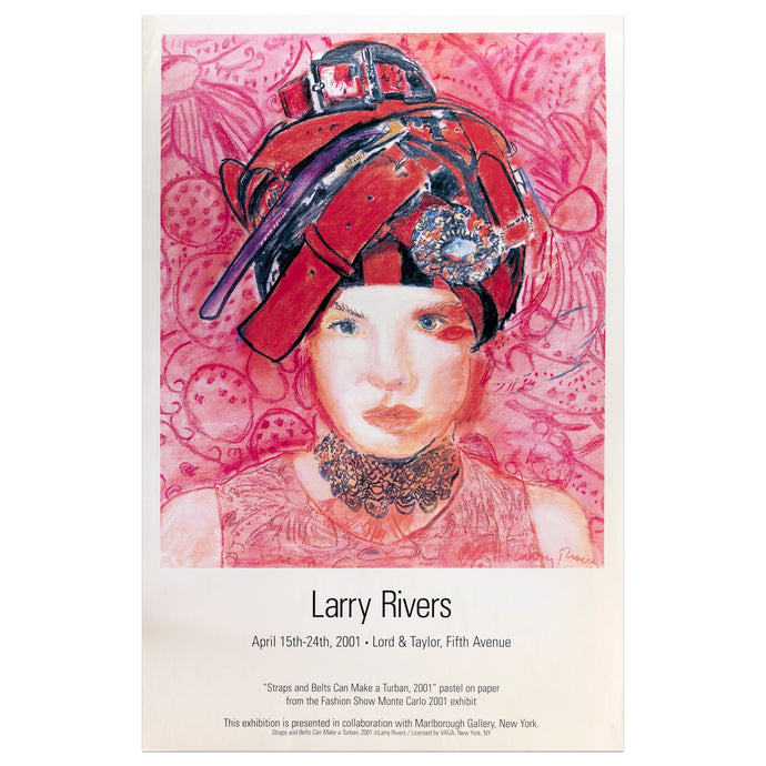 2001 Larry Rivers poster featuring a woman with a red belt head-piece against a pink patterned background