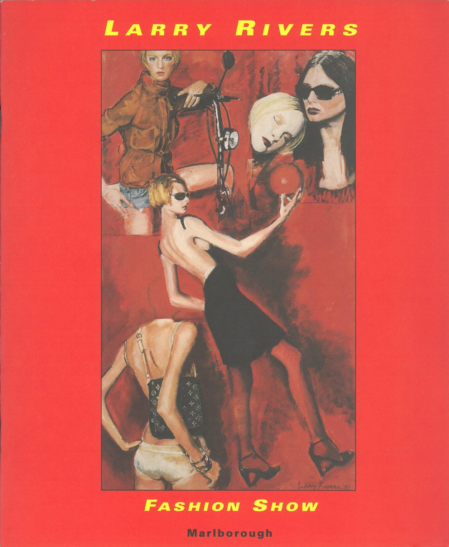 Rivers catalogue cover featuring a painting of several models on a red background