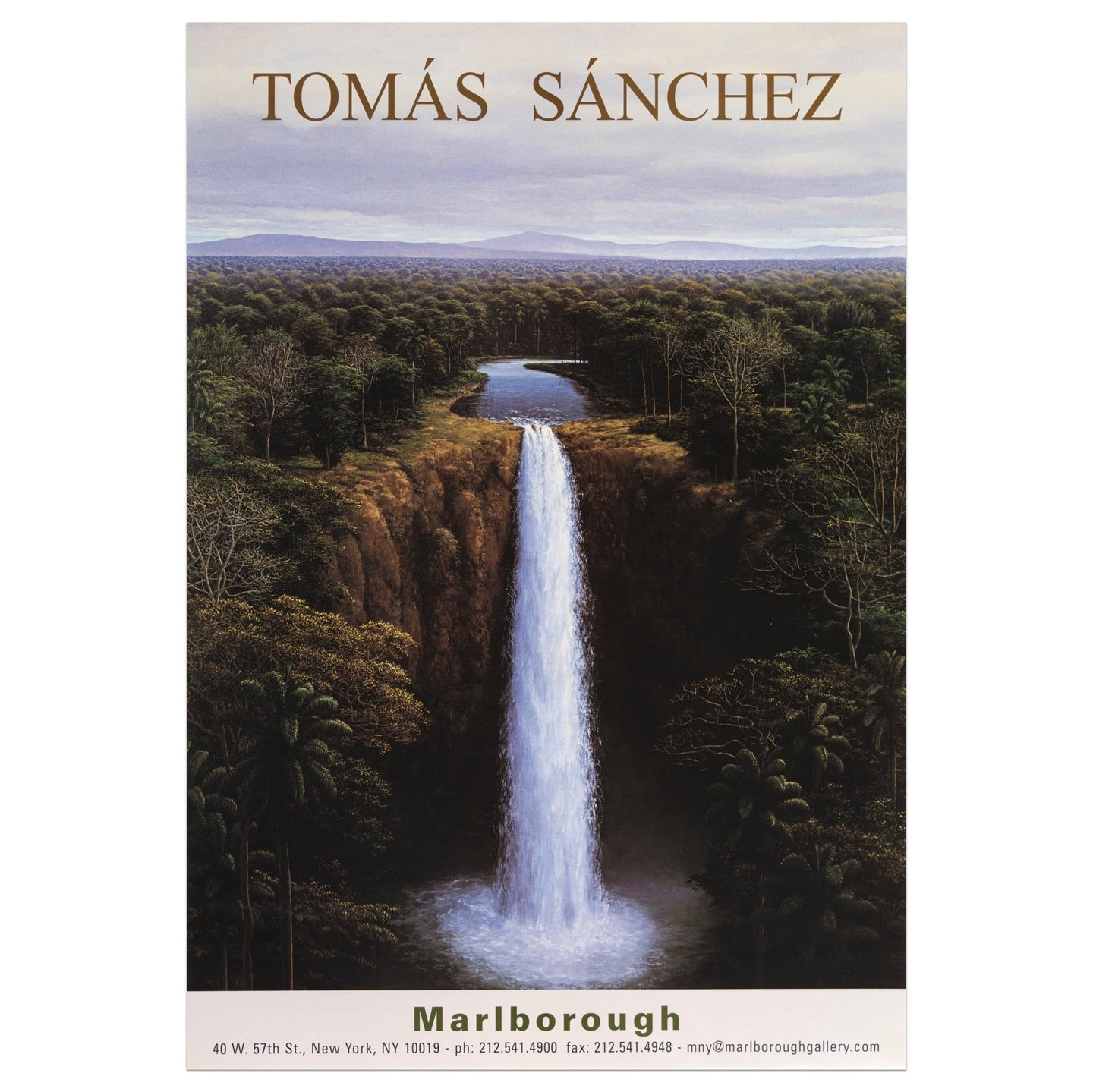 Marlborough poster for Tomás Sánchez featuring a waterfall scene