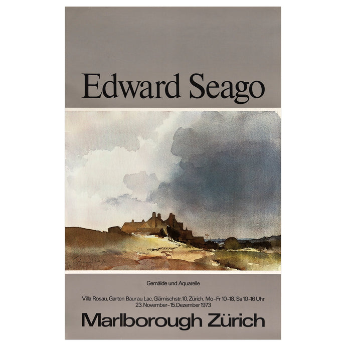 1973 Marlborough Zürich poster for Edward Seago featuring a watercolor painting of a stormy beach scene