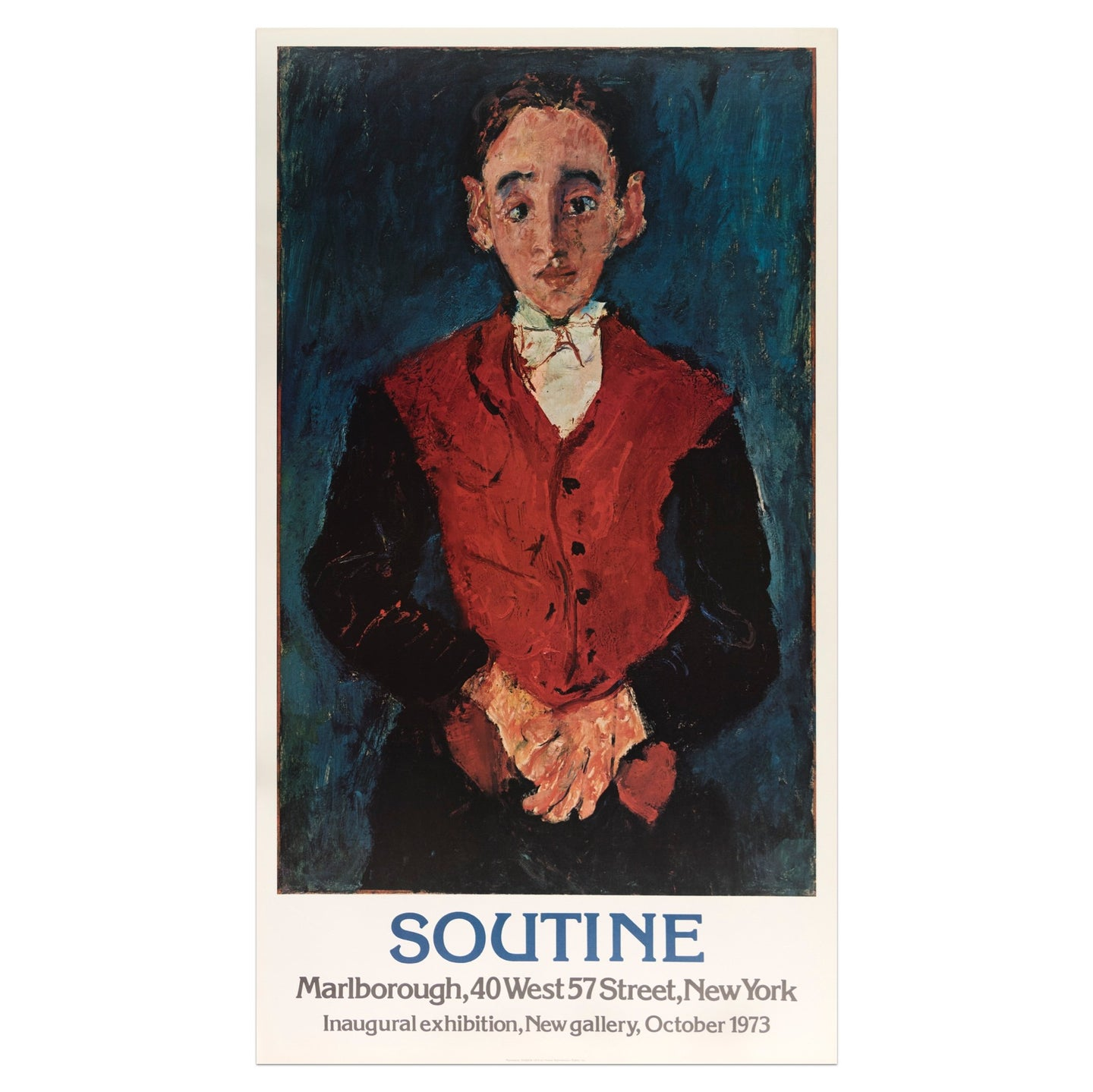 1973 Marlborough New York Chaim Soutine poster of a portrait painting of a male figure dressed in a red vest